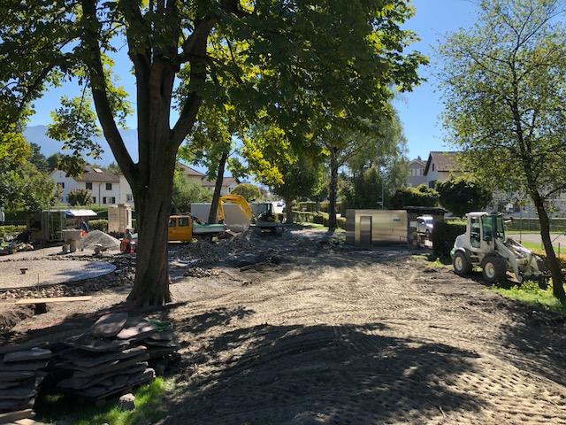 Spielplatz-Bauarbeiten Vorbereitung